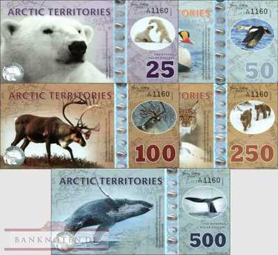 Arctic Territories: 25 - 500 Polar Dollars (5 banknotes - private issues)