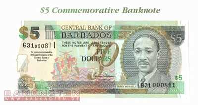 Barbados - 5  Dollars - 30 years Central Bank (#065A_UNC)