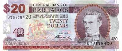 Barbados - 20  Dollars - 40 years Central Bank (#072_UNC)
