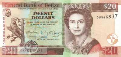 Belize - 20  Dollars (#069f_UNC)