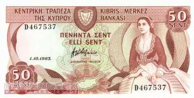 Cyprus - 50  Cents (#049a-83_UNC)