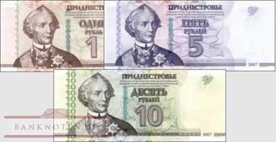 Transnistria: 1 - 10 Rubles (3 banknotes)