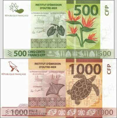 French Pacific Territories: 500 + 1.000 Francs (2 banknotes)