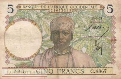 French West Africa - 5  Francs (#021-38_F)