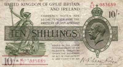 Great Britain - 10  Shillings (#358_F)