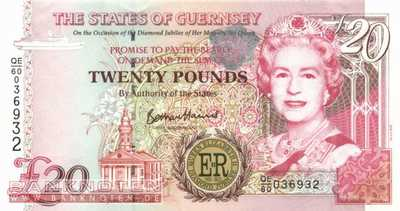 Guernsey - 20  Pounds - Diamond Jubilee (#061_UNC)