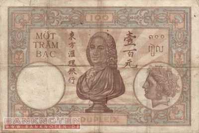 Indochina - 100  Piastres (#051d_F)