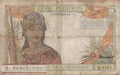 Indochina - 5  Piastres (#055c_VG)
