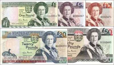 Jersey: 1 - 50 Pounds (5 banknotes)
