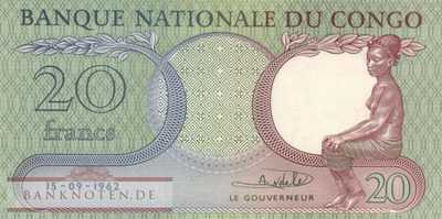 Congo, Democratic Republic - 20  Francs (#004a_UNC)