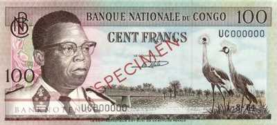 Congo, Democratic Republic - 100  Francs - SPECIMEN (#006s-64_AU)