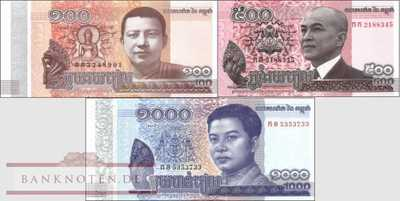 Cambodia: 100 - 1.000 Riels(3 banknotes)