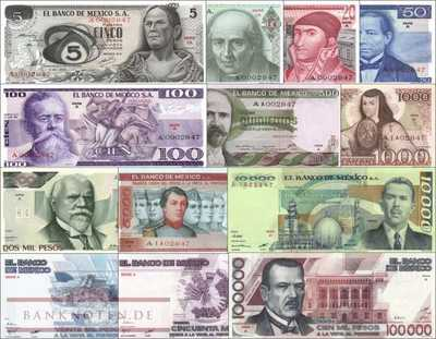 Mexico: 5 - 100.000 Pesos series A - matching serial A00028xx (13 banknotes)
