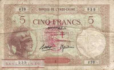 New Hebrides - 5  Francs (#004b_VG)