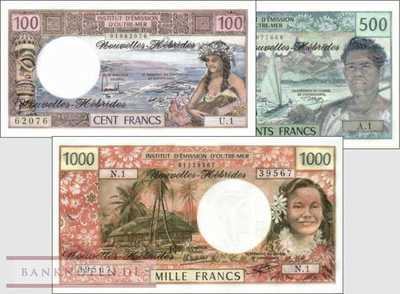 New Hebrides: 500 - 1.000 Francs (3 banknotes)