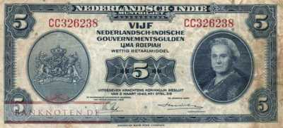 Netherlands Indies - 5  Gulden (#113a_F)