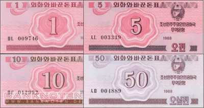 Korea North: 1 - 50 Chon (4 banknotes)