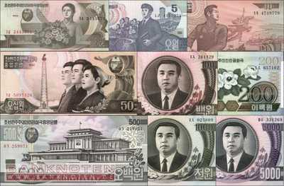 Korea North: 1 - 5.000 Won (9 banknotes)