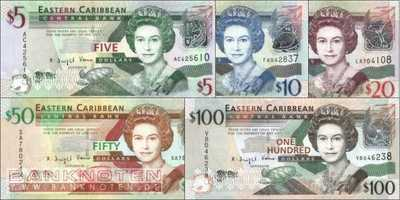 East Caribbean States: 5 - 100 Dollars (5 banknotes)
