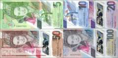 East Caribbean States: 10 - 100 2019 Dollars (4 banknotes)