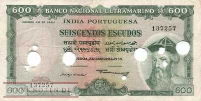 Portuguese India - 600  Escudos - cancelled (#045E_VF)