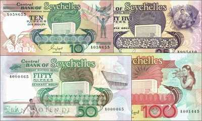 Seychelles: 10 - 100 Rupees (4 banknotes)