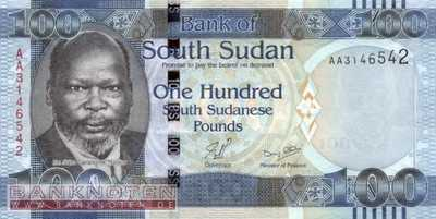 South Sudan - 100  Pounds (#010_UNC)