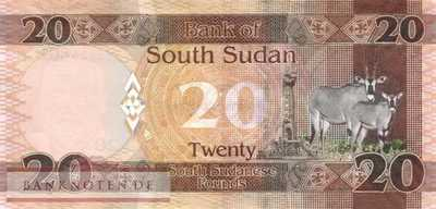 South Sudan - 20  Pounds (#013b_UNC)