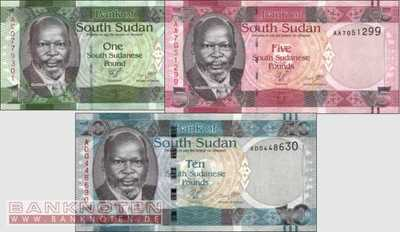 South Sudan: 1 - 10 Pounds (3 banknotes)