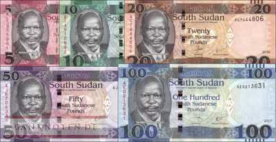 South Sudan: 5 - 100 Pounds (5 banknotes)