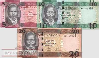 South Sudan: 5 - 20 Pounds (3 banknotes)