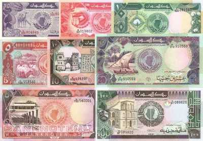 Sudan: 25 Piastres - 100 Pounds (8 banknotes)