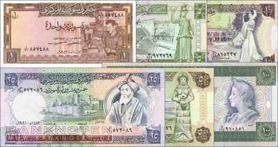 Syria: 1 - 100 Pounds (6 banknotes)