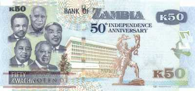 Zambia - 50  Kwacha - 50 years of independence (#055_UNC)