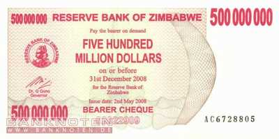 Zimbabwe - 500 Million Dollars (#060_UNC)