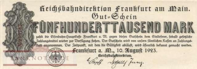 GERMANY 500000 MARK DRESDEN REICHSBAHN NOTGELD GUTSCHEIN BANKNOTE 1923 GOOD