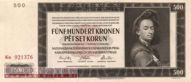 Protectorate of Bohemia and Moravia - 500  Kronen - SPECIMEN (#ZWK-018b_UNC)