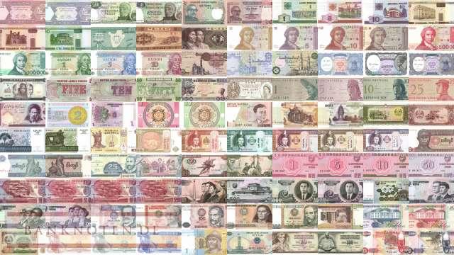 100 verschiedene Banknoten aus aller Welt